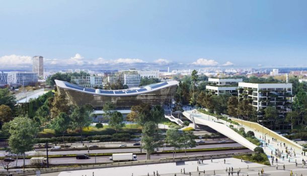 """The new """"fly-over"""" footbridge to the Olympic Aquatic Centre"""